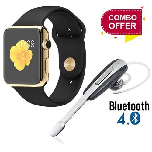 CELIXO A1 Bluetooth Smart Watch Sim Card and TF Card with Camera for Xiaomi Mi, Lenovo, Apple, Samsung, Oppo, Vivo Smartphones (Gold) + HM1000 Wireless Bluetooth in-Ear Earphone with Mic