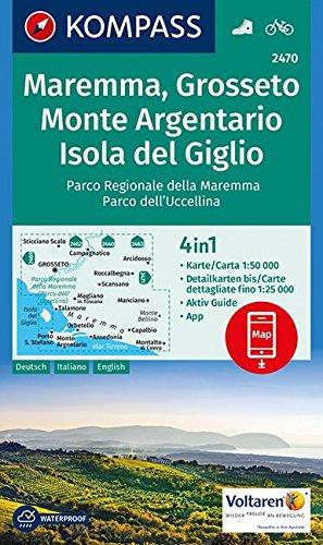 Maremma, Grosseto, Monte Argentario, Isola del Giglio 1:50 000: 4in1 Wanderkarte mit Aktiv Guide und Detailkarten inklusive Karte zur offline Verwendung in der KOMPASS-App. Fahrradfahren