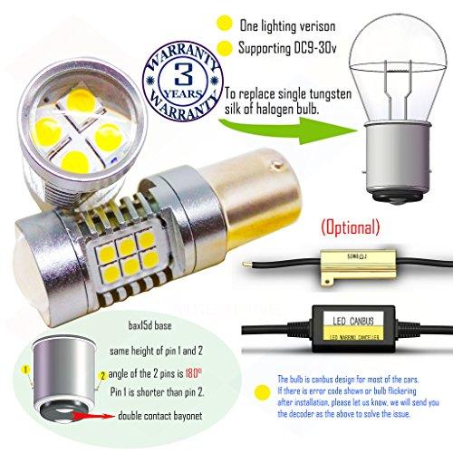 Preisvergleich Produktbild Wiseshine 3000k bax15d led birne lampen DC9-30v 3 Jahre Qualitätssicherung (2 Stück) bax15d 22smd 3030 warmweiß