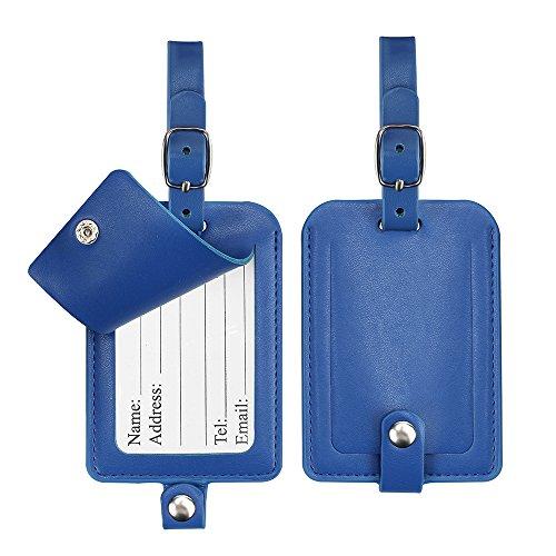 Gepäckanhänger, Galopar PU Lederkoffer ID Tags Reise Gepäck Handtasche Tag Etiketten Reise Zubehör (Blau-2Pack)