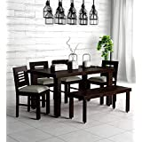 Sarswati Furniture Sheesham Wood Dining Table 6 Seater | Wooden Dinning Room Furniture | 4 Chair & 2 Seater Bench with Cushions | 1 Table | Balcony Dining Set | Warm Chestnut