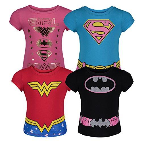 DC Comics Kleinkinder Mädchen T-Shirts Batgirl Supergirl Wonder Woman (4er Pack), Mehrfarbig 5 Jahre