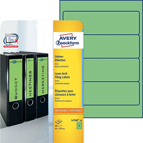 Avery Zweckform L4768-20 Ordner-Etiketten (A4, 80 Stück, blickdicht, 192 x 61 mm) 20 Blatt grün