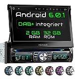 XOMAX XM-DDA711 Android 6.0.1 Autoradio/Naviceiver avec Navigation GPS + Écran Tactile DE 7'/18cm + Support WIFI/3G/4G/DAB+/OBD2 + Connexion Bluetooth + SD et USB (256GB par Dispositif)