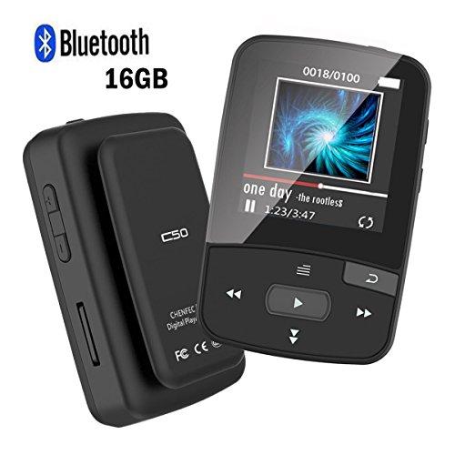 CFZC MP3Player mit Clip, 16GB, Bluetooth, Sport, MP4verlustfreier Sound, mit FM-Radio, Schrittzähler, erweiterbare Micro-SD-Karte (bis 64GB), schwarz