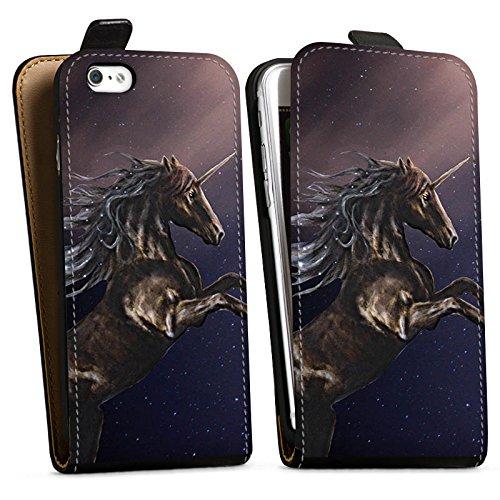 Apple iPhone X Silikon Hülle Case Schutzhülle Einhorn Unicorn Schwarz Pferd Downflip Tasche schwarz