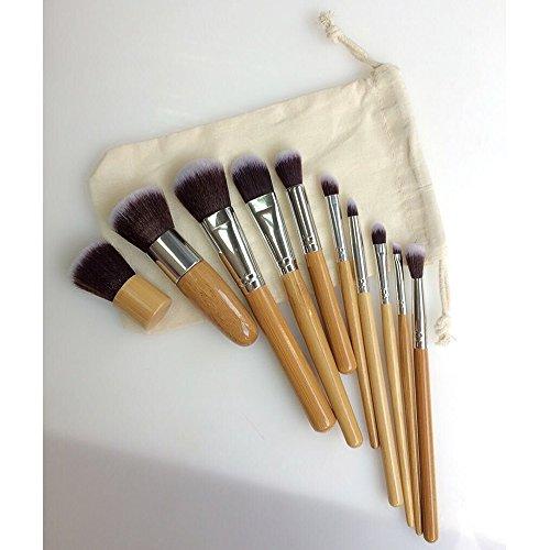Contever® 10 PCS Cosmétique Professional Brosses Pinceaux de Maquillage Manche en bambou Make Up Brush Set Haute Qualité Brosses en Fibre synthétique avec le Sac