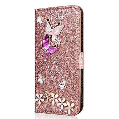 Miagon Hülle Glitzer für Samsung Galaxy A8 Plus 2018,Luxus Diamant Strass Schmetterling Blume PU Leder Handyhülle Ständer Funktion Schutzhülle Brieftasche Cover,Roségold