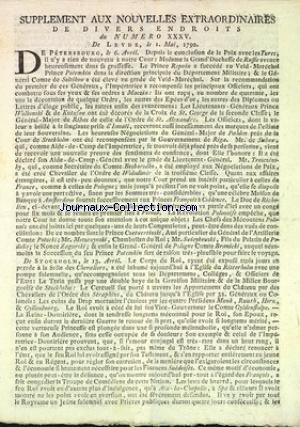 SUPPLEMENT AUX NOUVELLES EXTRAORDINAIRES DE DIVERS ENDROITS [No 35] du 01/05/1792