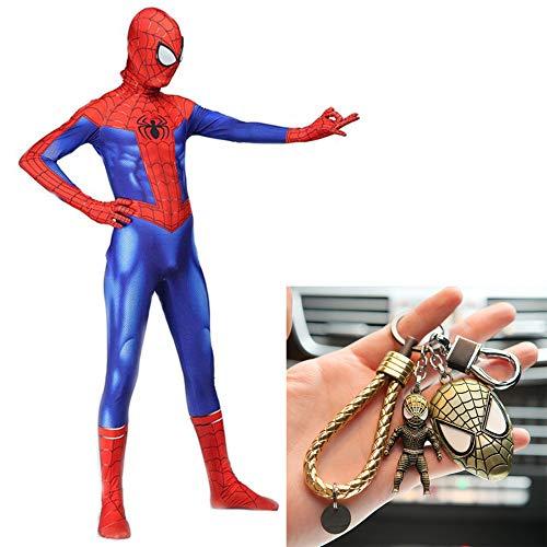 WERTYUH Expedition Spider Man Kostüm Cosplay Kleid Zentai Kinder Erwachsene Halloween Draw Kleidung + Spiderman Keychain Set,Child-S