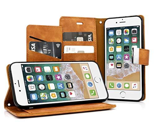MyGadget Funda Flip Cierre magnético para Apple iPhone 6 6s en cuero sintético PU - Carcasa Tarjetero con 5 bolsillos y soporte plegable anti golpes - CaféCASE TARJETERA TIPO LIBRO - Esta elegante cubierta billeteraesta desarrollada con un estilo se...