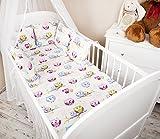Amilian® Baby Bettwäsche Design: Eule weiß Nestchen Bettset 100x135 für Babybett Decke Kissen Bettumrandung