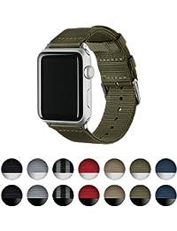 Archer Watch Straps   Repuesto de Correa de Reloj de Nailon para Apple Watch, Hombre y Mujer   Verde Oliva/Acero Inoxidable, 42mm