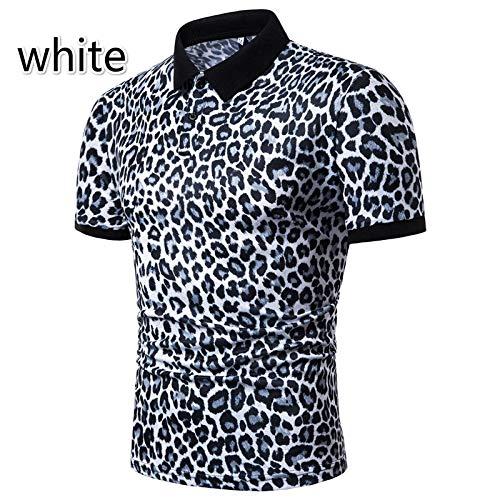 2e4387d9f New Mens Clothes t Shirts Fashion Leopard Print Short Sleeve t Shirts Lapel  T Shirt Stretch t Shirt Men Plus Size Clothes