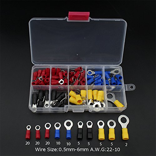 Kabelschuhe Ring Set, 102 pcs Aderendhülsen Sortiment 0.5mm-6mm AWG 22-10 für Isolierte Uisolierte (Crimp Kit Battery Tool)