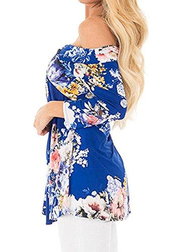 YMYY-Kleider Donna Elegante Maglietta Tops Blusa Manica Tunica Camicia Scollo a Barca Manica 3/4 Casual Stampa Fiore T-Shirt Blu