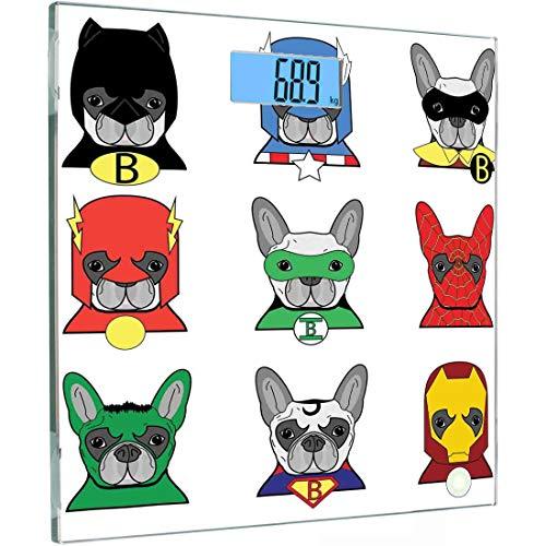 Ultra Slim Hochpräzise Sensoren Digitale Körperwaage Superheld Gehärtetes Glas Personenwaage, Bulldogge Superhelden Lustige Cartoon-Welpen in Verkleidung Kostüm Hunde mit Maskenaufdruck, Mehrfarbig