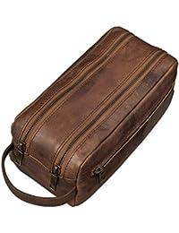 STILORD Vintage Neceser Bolsa de Lavado de piel cuero auténtico de vaca marrón