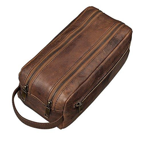 STILORD Kulturtasche Kulturbeutel groß mit Henkel Reise Waschtasche mit Fächern Vintage echtes Leder braun