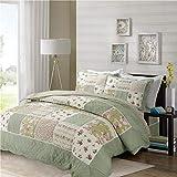 PUWENYCC Dreiteiliges Bett aus amerikanischer Baumwolle handgefertigt Patchwork gesteppt dreiteilige Wäsche auf das Schlafzimmer anwenden (Color : Green)