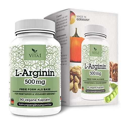 L-Arginina 500mg di VITA1 • 90 capsule (fornitura per 2 settimane) • per il trattamento dietetico della disfunzione vascolare • Fatto in Germania