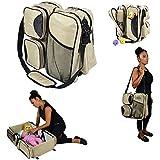 Webeauty ® 3 en 1 bebe de viaje Cuna / bolsas de pañales & portatil cuna cama para recién nacidos, bebés, niños, niñas - Baby Nursery cama para viajar (Khaki)