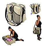 Webeauty® 3 in 1 Baby Travel Bassinet / Diaper Bags & Portable Crib Bed For Newborns, Infants, Boys ,Girls- baby nursery bed for traveling (Khaki)