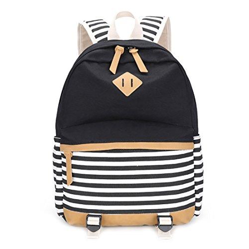 LissomPlume Canvas Schulrucksack Schultertasche Taschen Reisetasche Daypacks Laptoprucksäcke Umhängetasche - schwarz