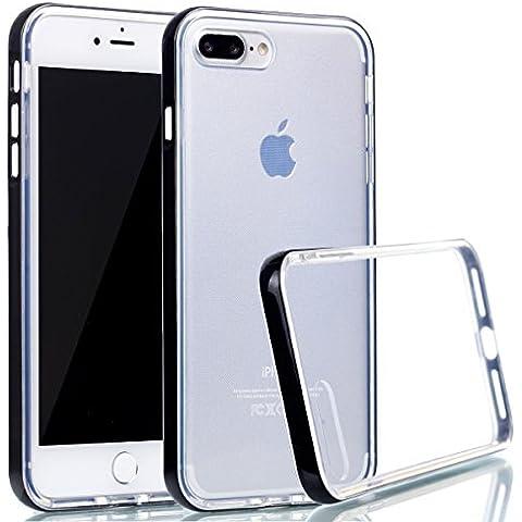 iPhone 7 Plus Cover , Ecoway Ultra sottile trasparente Cristallo TPU Silicone Gel Case Cover e PC Plastica Protettiva Skin Caso Bumper Slim Copertura Shell - nero
