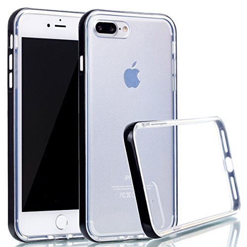 Etsue TPU Schutzhülle für iPhone 7 Plus 5.5 Zoll 2016 Silikon Handyhülle, Gradient Farbe Muster Einzigartig Regenbogen TPU Silikon Handytasche Weiche Schlank TPU Silikon Cover Ultradünnen Kristall Kla schwarz