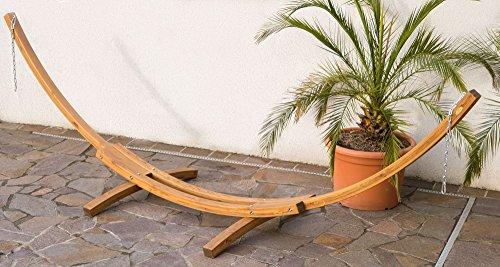 415cm XXL Luxus Hängemattengestell aus Holz Lärche ohne Hängematte coffee-braun geölt Modell: PANAMA von AS-S
