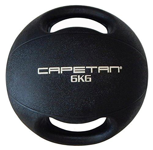 Capetan Professional Line Dual Grip 6 kg Medizinball aus Gummi mit zwei Griffen (auf Wasser schwimmend) – 6 kg Cross Training Medizinball mit Griffen
