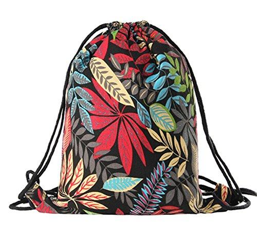 Imagen de  de cuerdas, bolasa con cordón 34 x 41cm saco gym hipster backpack pórtatil plegable para deportes al aire libre gimnasio ciclismo senderismo escuela, arce rojo