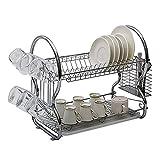 #10: Klaxon Stainless Steel Kitchen Organizer / Dish Drainer / Kitchen Utensils Rack / Modern Kitchen Storage Rack/ - 2 Tier - 430*120*260 Mm - Chrome Finish