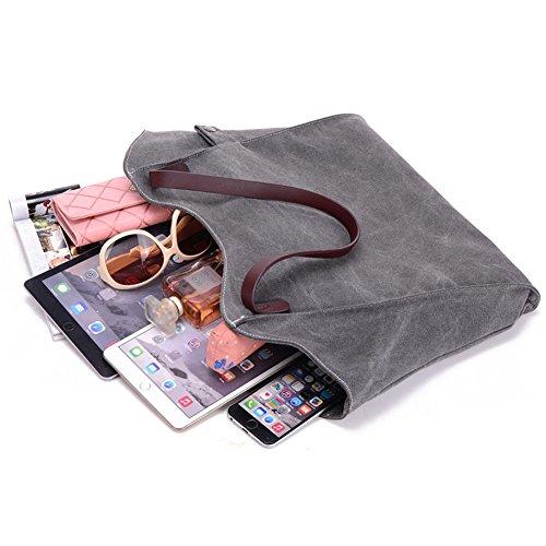 ParaCity borsa shopper da donna semplice in stile vintage a tracolla, per donne, ragazze, studenti SIMPLE- Brown SIMPLE- Brown
