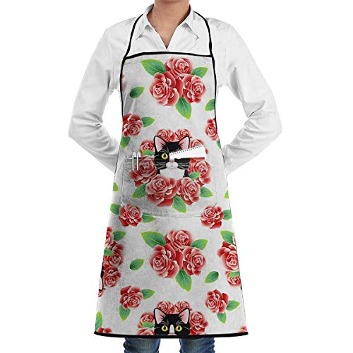 ck,Bib Apron with Pocket Tuxedo Cat and Roses Kitchen Apron Waterproof for Cooking Baker Servers BBQ 20