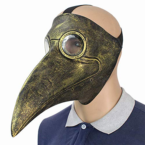 Lixinfushi Pest Doktor Maske Lange Nase Vogel Schnabel Steampunk Halloween Kostüm Requisiten Maske (Gold)