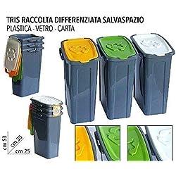 EURONOVITA' SRL ITALY 3 pattumiera pattumiere Tris bidoni per la Raccolta differenziata Secchio Spazzatura.Tris contenitori salvaspazio, cm 35 x 25 x 53 cm