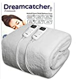 Dreamcatcher King Size Electric Blanket Premium Polar Fleece, Kingsize Bed 198 x 152cm, Electric Heated Blanket, Soft Fitted Underblanket with Dual LED Controllers, 8 Comfort settings, Timer Functionality and Machine Washable