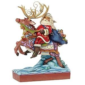 Hearwood Creek 4041094 Resina Babbo Natale Cavalcando Le Renne, Disegno da Jim Shore, 22.5 cm