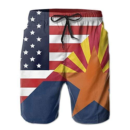OPoplizg Mens America Arizona State Flag Summer Quick-Drying Swim Trunks Beach Shorts Board Shorts,M Arizona Boys Jean