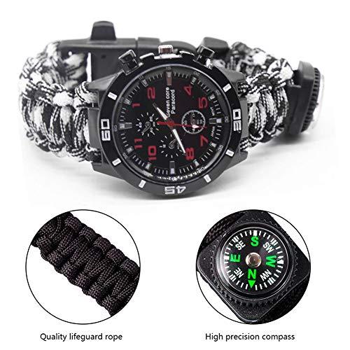 Imagen de umiwe brazalete de paracord, reloj de pulsera de supervivencia 6 en 1, brazalete de supervivencia kit de engranajes de supervivencia con silbato de arranque de paracord silbato alternativa