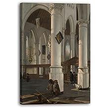 Printed Paintings Impression sur Toile (70x100cm): Emanuel de Witte - Intérieur de l'Oude Kerk, D