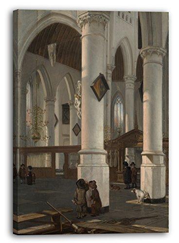 Emanuel de Witte - Innenraum des Oude Kerk, Delft (probably 1650), 70 x 100 cm (weitere Größen verfügbar), Leinwand auf Keilrahmen gespannt und fertig zum Aufhängen, hochwertiger Kunstdruck aus deutscher Produktion (Alte Meister bis Moderne Kunst).