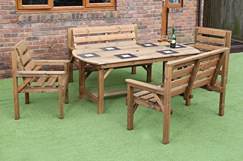 WOODEN GARDEN FURNITURE PATIO GARDEN SET 6FT TABLE 2 BENCHES AND 2 CHAIRS. Wooden Garden Furniture Sets  Amazon co uk