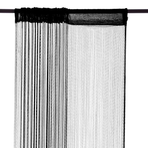 Smartfox Fadenvorhang, 100 x 250 cm in Schwarz, Fadengardine Fadenstore Vorhang Schal Faden