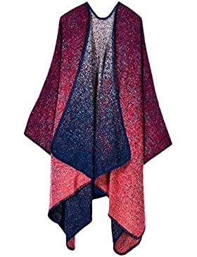 Mujer Cardigan de Punto Capa con Bloques de Colores Poncho Pashmina Chal
