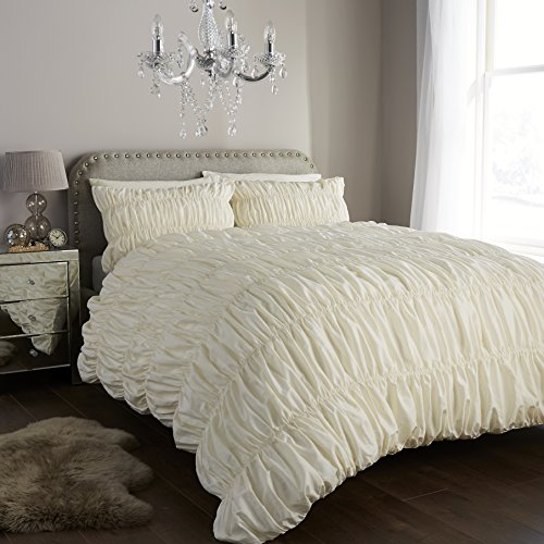 clicktostyle Gerüscht Polycotton Fancy Bettwäscheset, Bettbezug-Sets mit Kissen Betten Sets, cremefarben, King Size (Faux Seide Tröster)