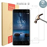 [ 2 Pack ] Nokia 8 Protecteur D'écran,PULEN Vitre Tempered Protection Film [Anti Rayures] [Anti Bulles] [ Dureté 9H ] 100% Transparent Glass Screen Protector pour Nokia 8 (Transprent)