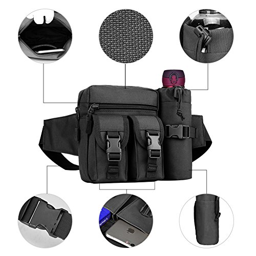 51TUY1ULf1L. SS500  - REDGO Tactical Waist Bag with Water Bottle Pouch, Waterproof Bum Bag Military Utility Canvas Fanny Pack Bumbag for Jogging Hiking Walking Bike Cycling Climbing Outdoor